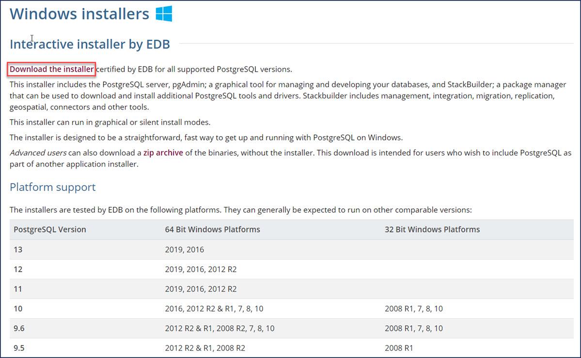 postgresql_windows_installers